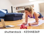 young girl looking at laptop... | Shutterstock . vector #435448369