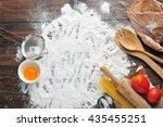baking cake in rural kitchen.   Shutterstock . vector #435455251