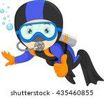 cute boy snorkeling | Shutterstock . vector #435460855