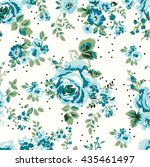 wallpaper seamless vintage blue ... | Shutterstock .eps vector #435461497