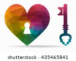 key heart poly icon | Shutterstock .eps vector #435465841