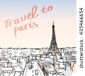 vector illustration of eiffel... | Shutterstock .eps vector #435466654