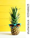 Ripe Pineapple With Sunglasses...