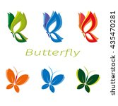 eco icon set butterfly symbols. ... | Shutterstock .eps vector #435470281