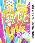 sport is love poster with... | Shutterstock .eps vector #435475105