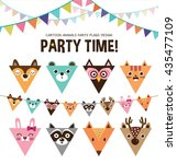set of cartoon animals party... | Shutterstock .eps vector #435477109