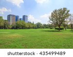 city park under blue sky with... | Shutterstock . vector #435499489