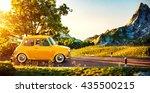 cute little retro car goes by...   Shutterstock . vector #435500215
