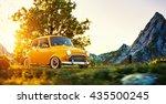 cute little retro car goes by... | Shutterstock . vector #435500245
