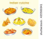 indian cuisine dishes set  | Shutterstock .eps vector #435500341