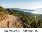 mountain biker riding on bike... | Shutterstock . vector #435502345
