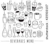 set of beverage doodles  ... | Shutterstock .eps vector #435503107