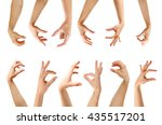 set of empty different hands to ... | Shutterstock . vector #435517201