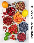 various fresh fruits in bowls... | Shutterstock . vector #435521287
