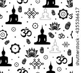 vector set of buddhist... | Shutterstock .eps vector #435536617