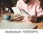 african american man in casual... | Shutterstock . vector #435536971