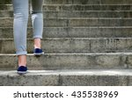 female feet in gym shoes to... | Shutterstock . vector #435538969