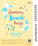 yellow summer beach party... | Shutterstock .eps vector #435552559