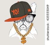 portrait of dog in hip hop hat. ... | Shutterstock .eps vector #435555049