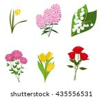 flowers vector set of  flower... | Shutterstock .eps vector #435556531