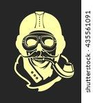 aviator skull emblem | Shutterstock .eps vector #435561091