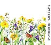 meadow watercolor flowers card... | Shutterstock . vector #435561241