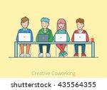 linear line art coworking flat... | Shutterstock .eps vector #435564355
