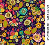 colorful seamless floral... | Shutterstock .eps vector #435568705