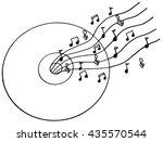 cd music doodle illustration ... | Shutterstock .eps vector #435570544