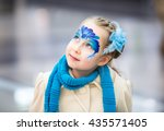 portrait of little girl with... | Shutterstock . vector #435571405