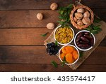 mix dried fruits  date palm... | Shutterstock . vector #435574417