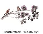 Sparrow Birds Sketch Background....