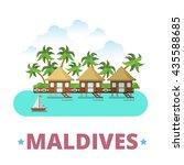 maldives country badge fridge... | Shutterstock .eps vector #435588685