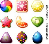 set of fruit candies for match... | Shutterstock .eps vector #435590905