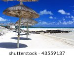 beach umbrella row in mauritius ... | Shutterstock . vector #43559137