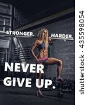 sensual blond fitness model...   Shutterstock . vector #435598054