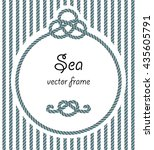 rope with knot round frame. sea ... | Shutterstock .eps vector #435605791
