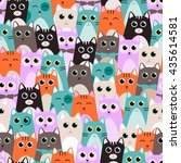 seamless pattern with cute cats ... | Shutterstock .eps vector #435614581