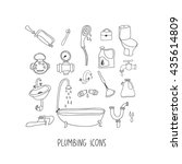 plumbing hand drawn vector icon ... | Shutterstock .eps vector #435614809