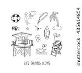sea hand drawn vector icon set  | Shutterstock .eps vector #435614854