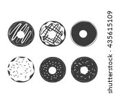 donut vector set isolated on a... | Shutterstock .eps vector #435615109