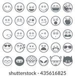 smiley emoticon line icons | Shutterstock . vector #435616825