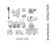 railway hand drawn vector icons ... | Shutterstock .eps vector #435617305
