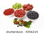 bowls of freshly picked summer... | Shutterstock . vector #4356214