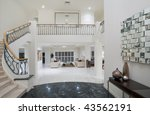 Luxury Mansion entrance with marble floor - stock photo