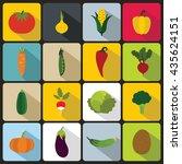 vegetables icons set | Shutterstock . vector #435624151