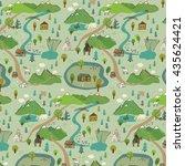 mountains trip vector pattern | Shutterstock .eps vector #435624421