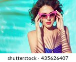 summer beach style portrait a... | Shutterstock . vector #435626407