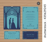 wedding invitation with bride... | Shutterstock .eps vector #435629245