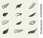 wings icons vector set. wings.... | Shutterstock .eps vector #435630034